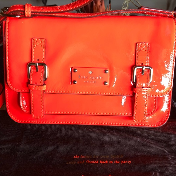Kate Spade Orange Patent Buckled Messenger Bag